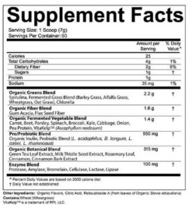 Fermented Green Supreme Food Supplement Facts