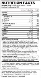 Detox Organics Chocolate Superfood Supplement Facts
