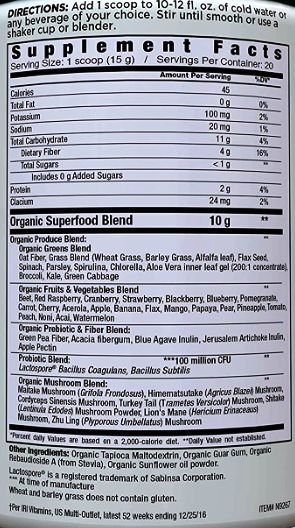 Country Farms Super Greens Supplemet Facts