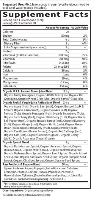 Garden of Life Green Superfood Supplement Facts