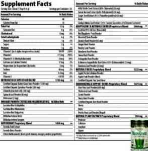 MacroLife Naturals-Macro Greens Supplement Facts